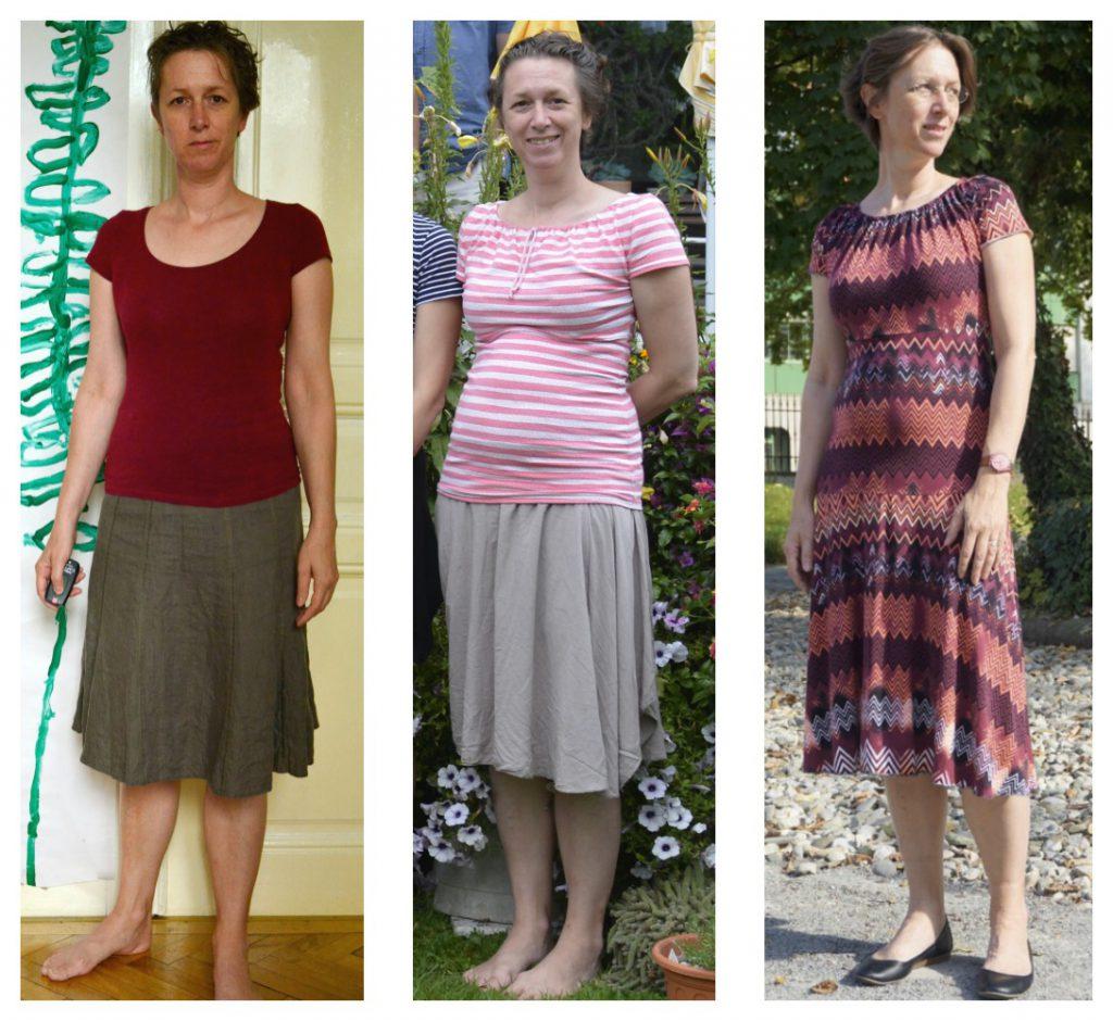 Ein alter Lieblingsrock aus Leinen (links) der gekürzte Sommerrock (mitte) und das Carmen-Kleid (links) - alles gut.
